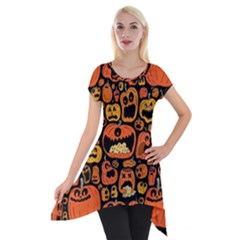 Pumpkin Helloween Short Sleeve Side Drop Tunic