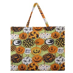 Print Halloween Zipper Large Tote Bag by AnjaniArt