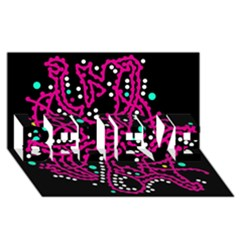 Pink Fantasy Believe 3d Greeting Card (8x4)