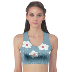 Cloudy Sky With Rain And Flowers Sports Bra by CreaturesStore