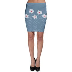 Cloudy Sky With Rain And Flowers Bodycon Skirt by CreaturesStore