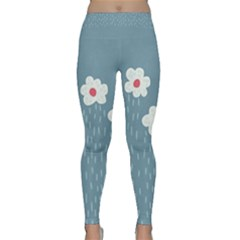 Cloudy Sky With Rain And Flowers Classic Yoga Leggings by CreaturesStore