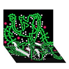 Green Fantasy Love Bottom 3d Greeting Card (7x5) by Valentinaart