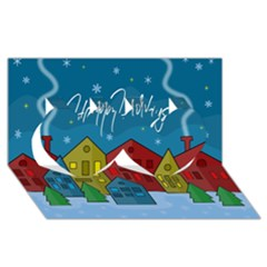 Xmas Landscape Twin Hearts 3d Greeting Card (8x4) by Valentinaart