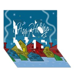 Xmas Landscape Love 3d Greeting Card (7x5)