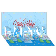 Xmas Landscape   Happy Holidays Party 3d Greeting Card (8x4) by Valentinaart
