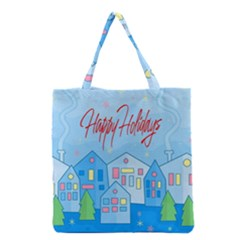 Xmas Landscape   Happy Holidays Grocery Tote Bag by Valentinaart