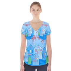 Xmas Landscape   Happy Holidays Short Sleeve Front Detail Top by Valentinaart