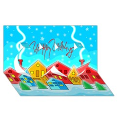 Christmas Magical Landscape  Twin Hearts 3d Greeting Card (8x4) by Valentinaart