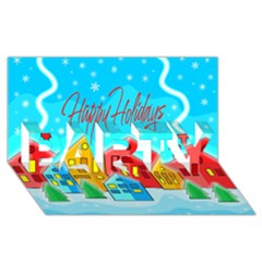 Christmas Magical Landscape  Party 3d Greeting Card (8x4)