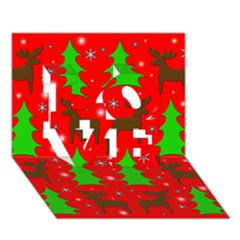Reindeer And Xmas Trees Pattern Love 3d Greeting Card (7x5) by Valentinaart