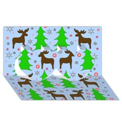 Reindeer And Xmas Trees  Twin Hearts 3d Greeting Card (8x4) by Valentinaart
