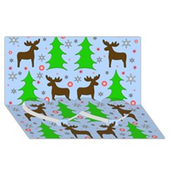 Reindeer And Xmas Trees  Twin Heart Bottom 3d Greeting Card (8x4) by Valentinaart