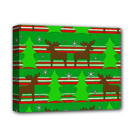 Christmas Trees And Reindeer Pattern Deluxe Canvas 14  X 11  by Valentinaart
