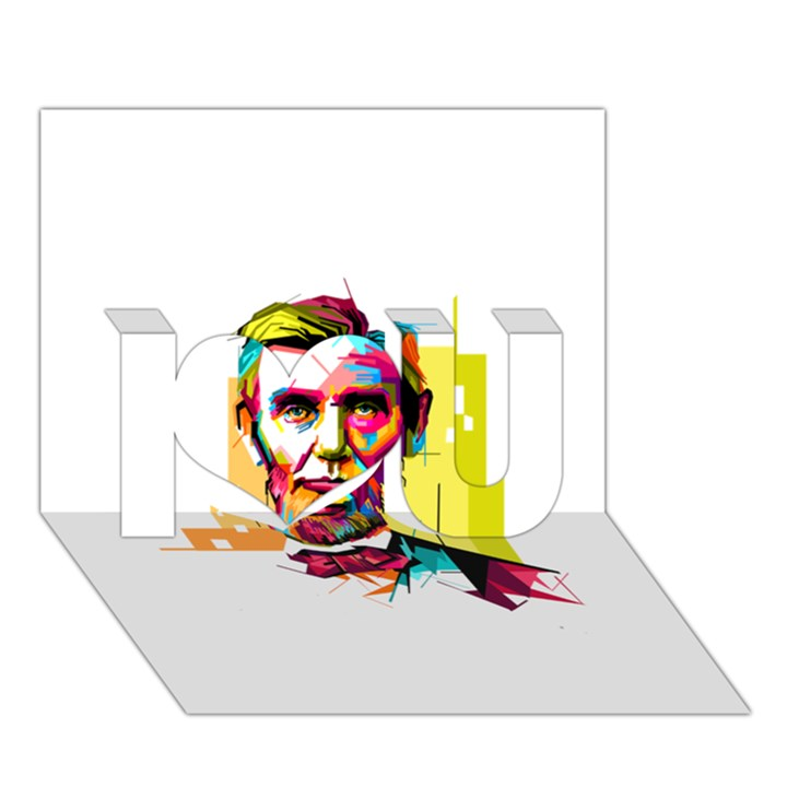 Abraham Lincoln I Love You 3D Greeting Card (7x5)