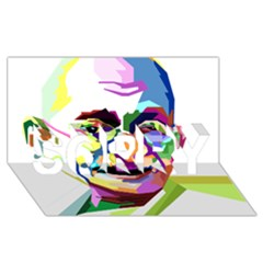 Ghandi Sorry 3d Greeting Card (8x4)