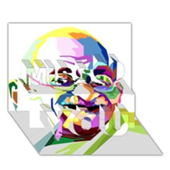 Ghandi Miss You 3d Greeting Card (7x5) by bhazkaragriz
