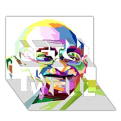 Ghandi Get Well 3d Greeting Card (7x5) by bhazkaragriz