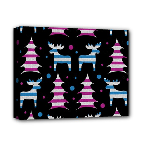Blue And Pink Reindeer Pattern Deluxe Canvas 14  X 11  by Valentinaart