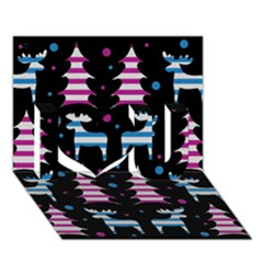 Blue And Pink Reindeer Pattern I Love You 3d Greeting Card (7x5) by Valentinaart
