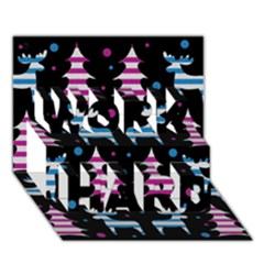 Blue And Pink Reindeer Pattern Work Hard 3d Greeting Card (7x5) by Valentinaart