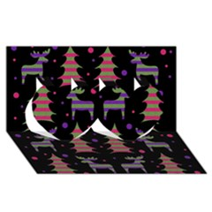 Reindeer Magical Pattern Twin Hearts 3d Greeting Card (8x4) by Valentinaart