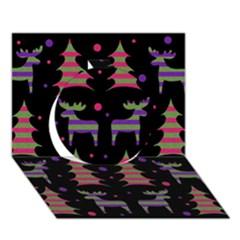 Reindeer Magical Pattern Circle 3d Greeting Card (7x5) by Valentinaart