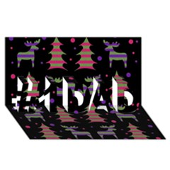 Reindeer Magical Pattern #1 Dad 3d Greeting Card (8x4) by Valentinaart