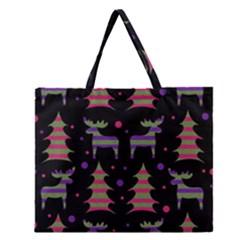 Reindeer Magical Pattern Zipper Large Tote Bag by Valentinaart