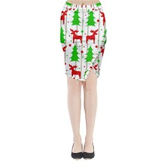 Reindeer Elegant Pattern Midi Wrap Pencil Skirt by Valentinaart