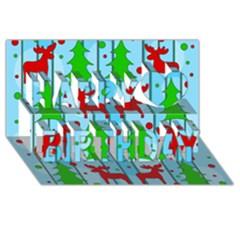 Xmas Reindeer Pattern   Blue Happy Birthday 3d Greeting Card (8x4)