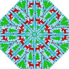 Xmas Reindeer Pattern   Blue Golf Umbrellas by Valentinaart