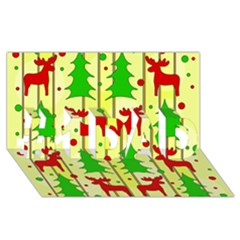 Xmas Reindeer Pattern   Yellow #1 Dad 3d Greeting Card (8x4) by Valentinaart