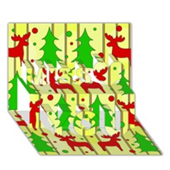 Xmas Reindeer Pattern   Yellow Miss You 3d Greeting Card (7x5) by Valentinaart