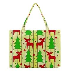 Xmas Reindeer Pattern   Yellow Medium Tote Bag by Valentinaart