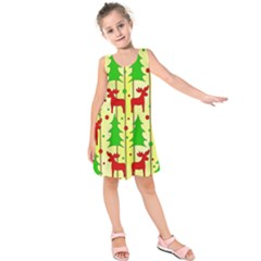 Xmas Reindeer Pattern   Yellow Kids  Sleeveless Dress