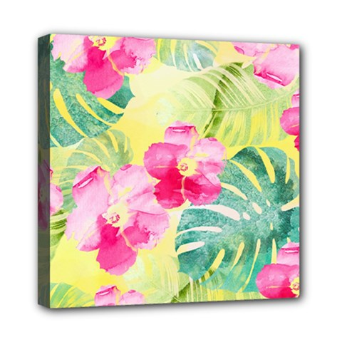 Tropical Dream Hibiscus Pattern Mini Canvas 8  X 8  by DanaeStudio