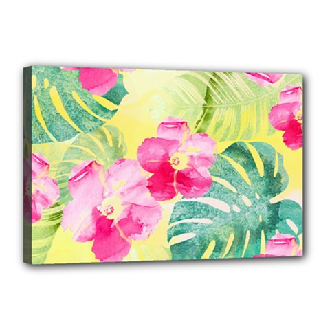 Tropical Dream Hibiscus Pattern Canvas 18  X 12  by DanaeStudio
