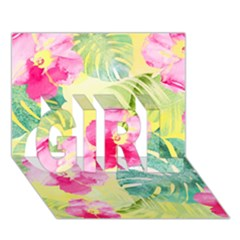 Tropical Dream Hibiscus Pattern Girl 3d Greeting Card (7x5) by DanaeStudio