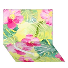 Tropical Dream Hibiscus Pattern Heart Bottom 3d Greeting Card (7x5) by DanaeStudio