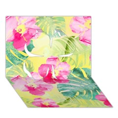 Tropical Dream Hibiscus Pattern Clover 3d Greeting Card (7x5) by DanaeStudio