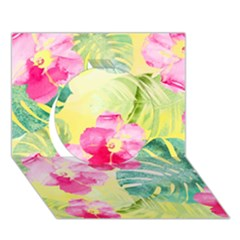 Tropical Dream Hibiscus Pattern Circle 3d Greeting Card (7x5) by DanaeStudio