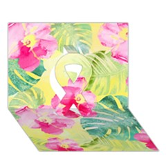 Tropical Dream Hibiscus Pattern Ribbon 3d Greeting Card (7x5)