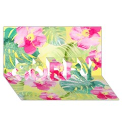 Tropical Dream Hibiscus Pattern Sorry 3d Greeting Card (8x4)