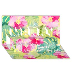 Tropical Dream Hibiscus Pattern Merry Xmas 3d Greeting Card (8x4) by DanaeStudio