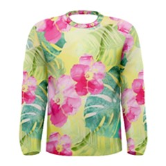 Tropical Dream Hibiscus Pattern Men s Long Sleeve Tee by DanaeStudio