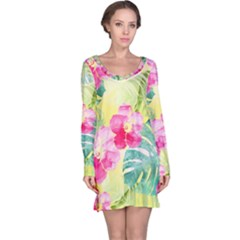Tropical Dream Hibiscus Pattern Long Sleeve Nightdress by DanaeStudio