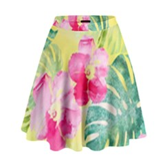 Tropical Dream Hibiscus Pattern High Waist Skirt by DanaeStudio