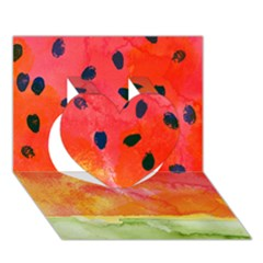 Abstract Watermelon Heart 3d Greeting Card (7x5) by DanaeStudio
