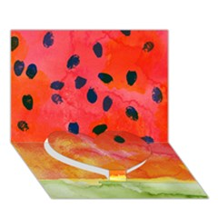 Abstract Watermelon Heart Bottom 3d Greeting Card (7x5) by DanaeStudio